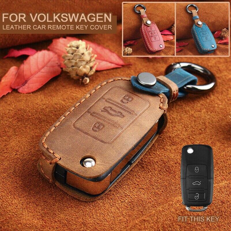 Housse étui à clés en cuir pour VW Jetta MK6/MK5, POLO, Golf, GTI, coccinelle, Passat, Tiguan Bora, Skoda, Fabia, Octavia, seat, Leon, Altea, Ibiza