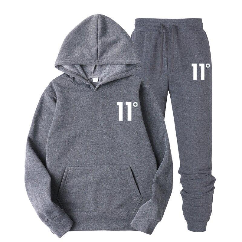 Impressão 11 conjuntos de treino esportiva masculina roupa interior térmica velo grosso com capuz + calças malechanal terno esportivo 2020 nova marca