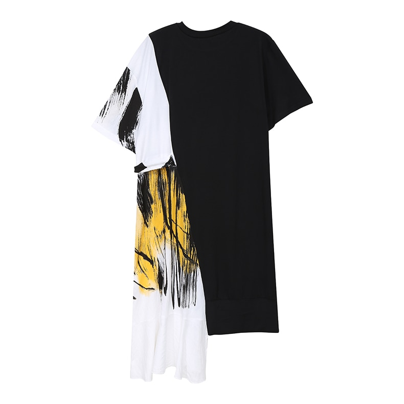 New Fashion Hit Color Design Woman Party Stylish Summer Black Patchwork Dress
