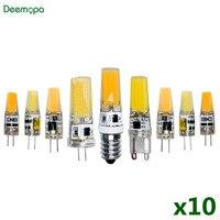Светодиодная лампочка G4 G9 E14, сменная для галогеновых прожекторов и люстр, 10 шт./лот, Приглушение переменного/постоянного тока, 12 В, 220 В, 3 Вт, 6 ...