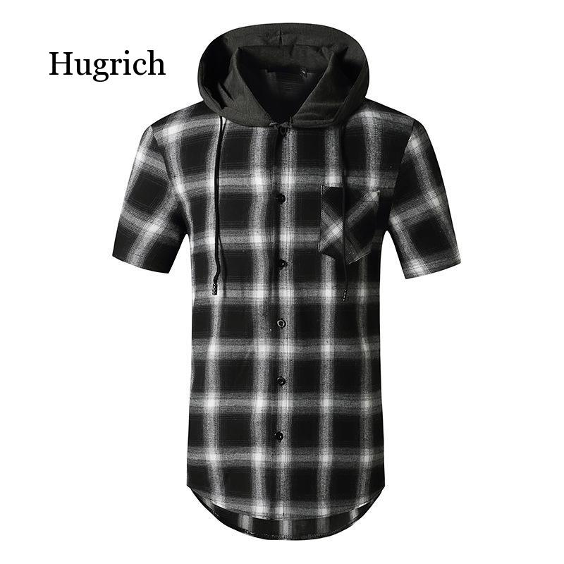 Fashion Plaid Hooded Double Pocket Short Sleeve Men's Casual Slim Fit Shirt Top Clothes