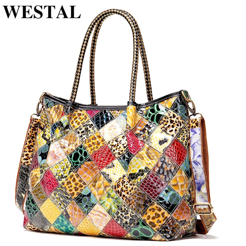 WESTAL womens leather handbags ladies hand bags women genuine totes top handle boho bag emboridered shoulder female