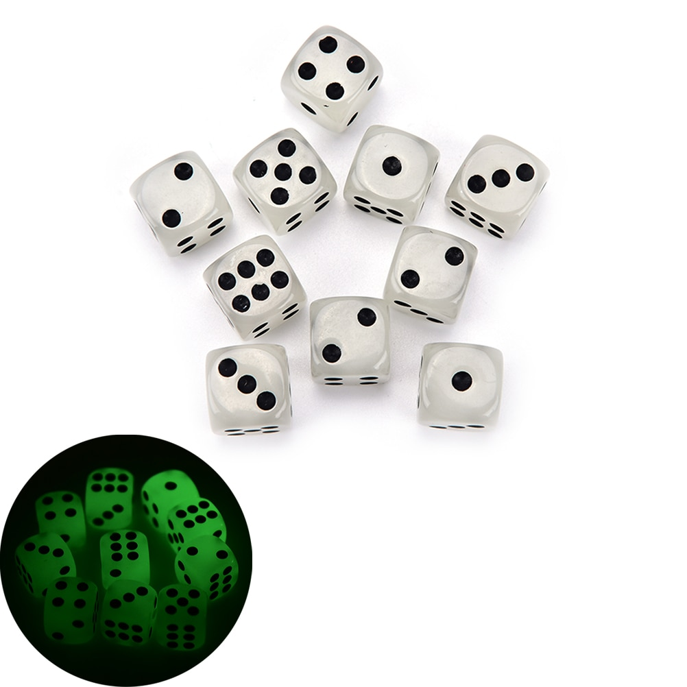 10Pcs/lot 14mm Luminous Dice Rounded Corners Black Spots Dice Nightclub Bars KTV Boutique Entertainment Glowing Dice Set