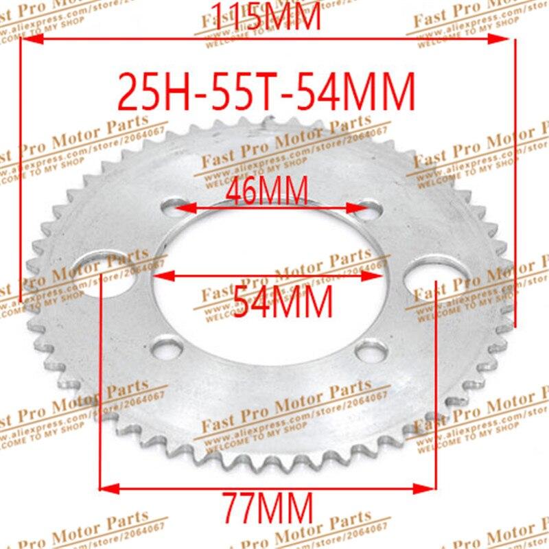 25H 55T 54 мм Задняя звездочка цепь колеса для 43cc 49cc Minimoto мопед скутеры 2 тактный двигатель карманный велосипед мини квадроцикл ATV