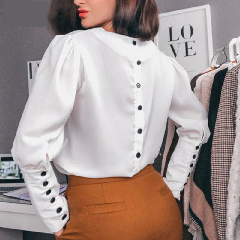 2020 outono nova moda feminina blusa de botão de volta e topos senhoras de escritório sexy decote em v manga longa casual sólida camisa