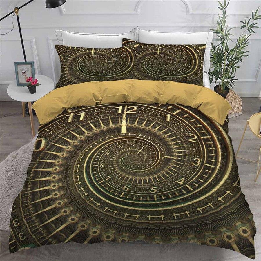 HELENGILI ثلاثية الأبعاد طقم سرير ساعة طباعة حاف مجموعة غطاء السرير مع المخدة طقم سرير المنسوجات المنزلية # ZHONG21