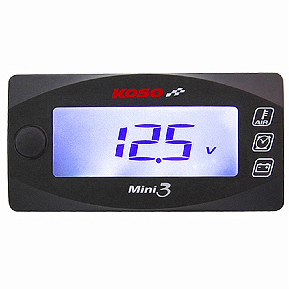 Mini medidor de pantalla LED KOSO MINI 3 Digital para carreras y Scooter (temperatura del aire + tiempo + voltímetro)