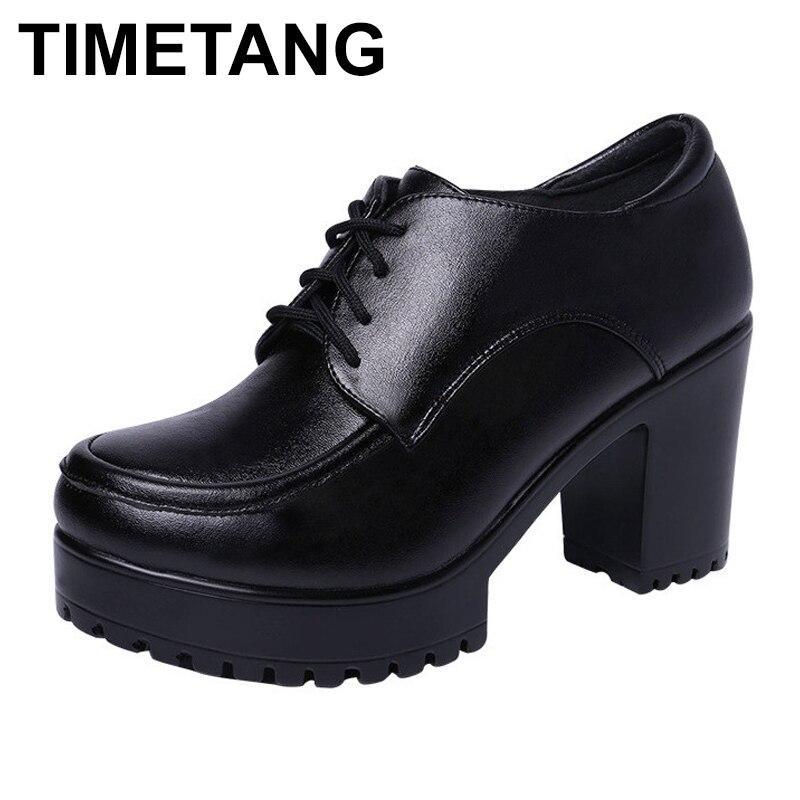 TIMETANGPlus Size Block Heels 35-43 Deep Leather Shoes Pumps Oxford Shoe Women 2019 Autumn Winter High Heels Shoes with Platform