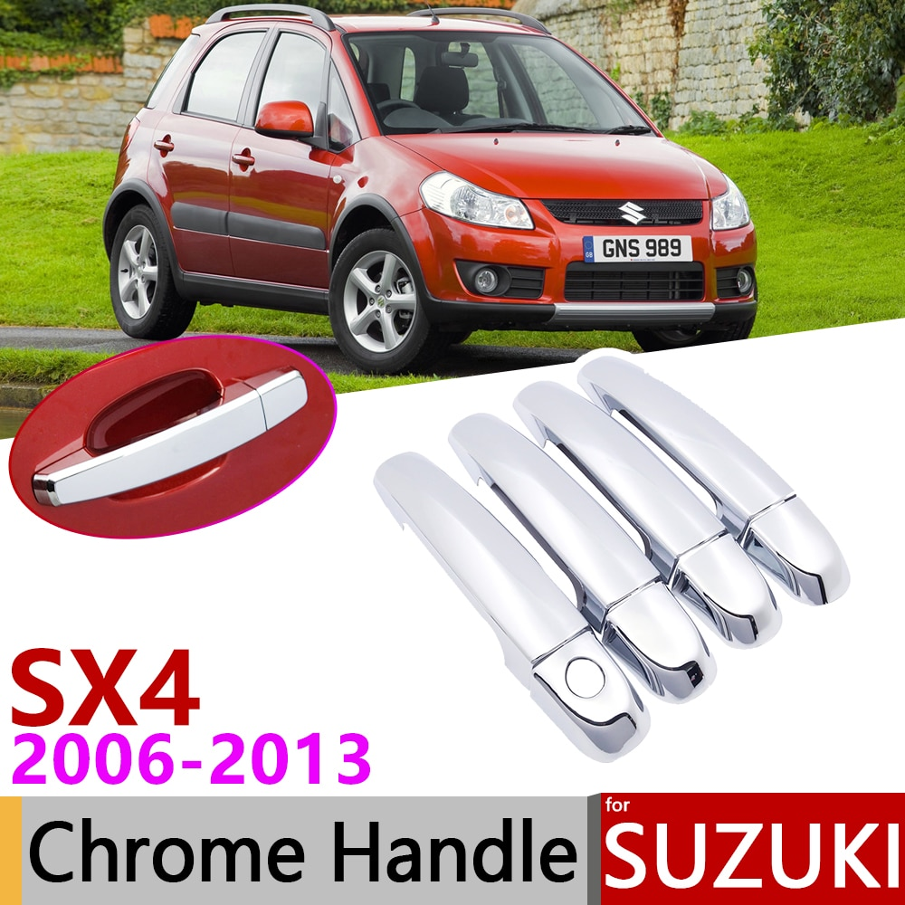 for Suzuki SX4 Fiat Sedici Maruti 2006~2013 Chrome Door Handle Cover Car Accessories Stickers Trim Set 2007 2008 2009 2011 2012