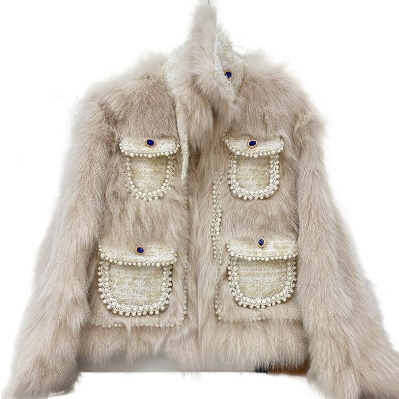 المدرج مطرز تصميم سميكة الدافئة السيدات ريال فوكس معطف الفرو خليط تويد جيب الشتاء ملابس النساء