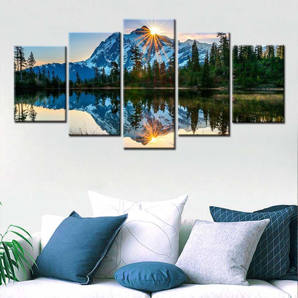 5 Pieces HD Prints Canvas Wall Art Pictures Washington city Snow Mountain Boat Lake Trees Natural Landscape Modular Home Decor