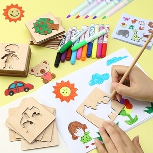 Wooden Painting Graffiti Board Drawing Toys Painting Learning Stencil Templates Coloring DIY Craft Educational Kids Set