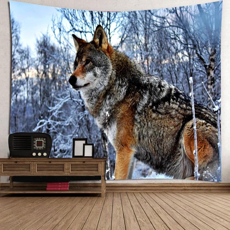 Гобелен с волком, гобелены с волками на горе, настенные гобелены с полной луной в звездном небе, гобелены для детской спальни, гостиной, обще...