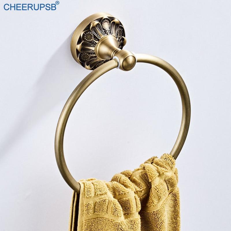 Bathroom Round Bath Towel Ring Retro Bronze Hanger Wall Mounted Antique Rack Vintage Gold Shower Hand Towel Holder Towel Rail K2