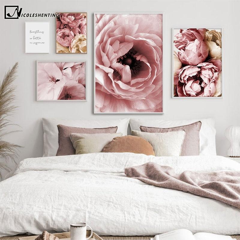 Lienzo de flor de peonía rosa, pintura de planta, póster, decoración nórdica, estampado botánico arte moderno, arte de pared, imagen, decoración de habitación Ling