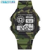 Часы наручные Synoke мужские камуфляжные, спортивные цифровые водонепроницаемые в стиле милитари, с календарем, светодиодсветильник, зеленые,...
