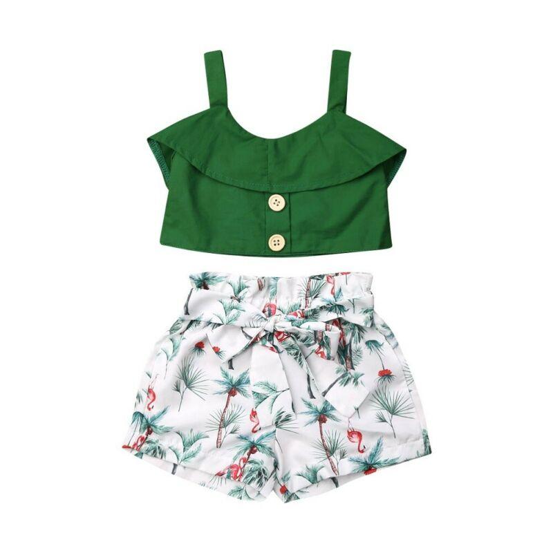 2020 verano niños pequeños conjuntos de ropa de niñas volantes chaleco sólido superior Floral ropa interior pantalón corto 1-6Y