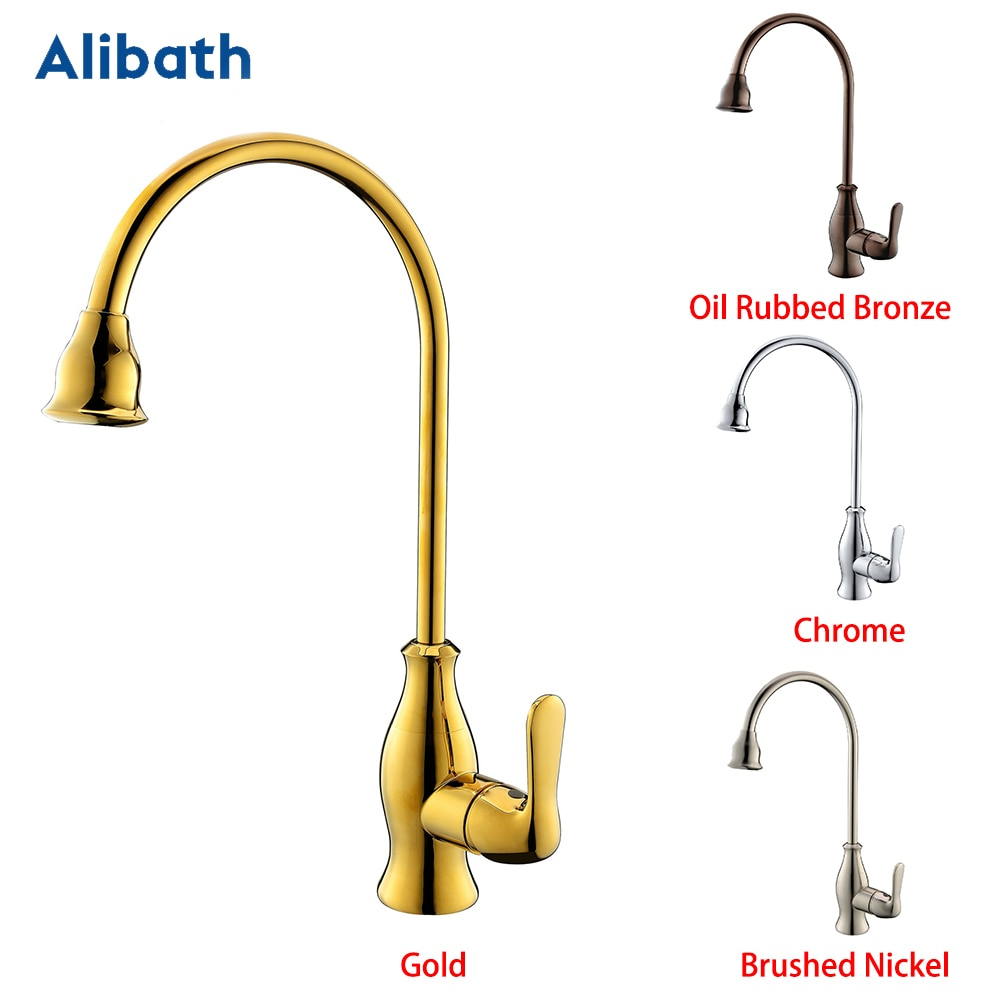 Promotion Solid Brass Chrome Hot And Cold Kitchen Faucet Sink Mixer Tap With Aerator Sink Faucet Brushed Nickel/Gold. brushed stainless steel pot filler faucet lead free with dual joint swing arm and aerator surface deck mount kitchen mixer tap