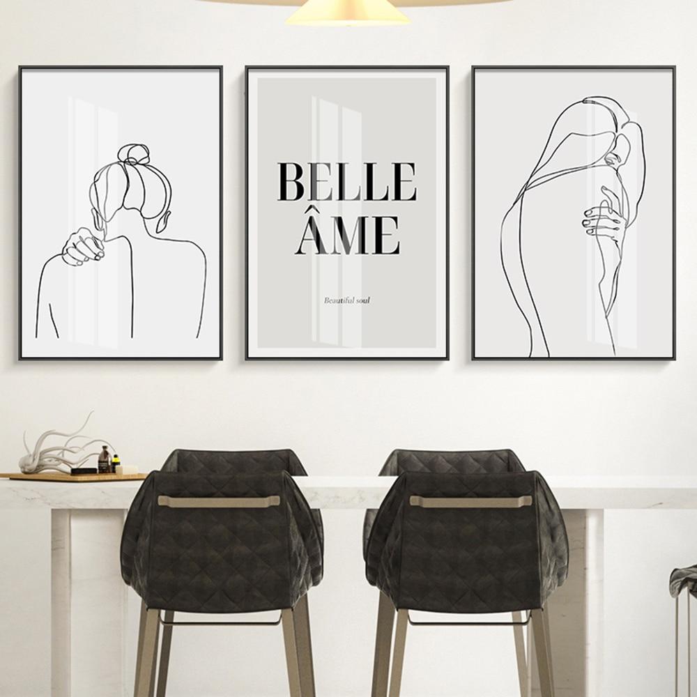 Nórdico preto e branco imagem da lona pintura na parede arte cartaz e impressão da parede imagem para sala de estar decoração