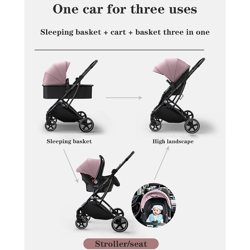 High-view baby stroller two-way foldable one-hand stowage baby stroller can sit and recline baby stroller enlarge