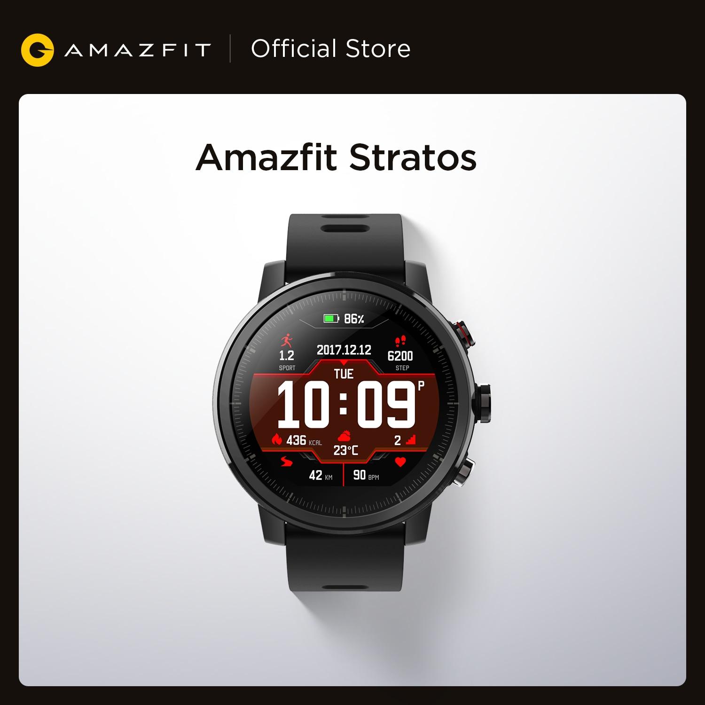 الأصلي Amazfit ستراتوس ساعة ذكية ساعة ذكية لتحديد المواقع السعرات الحرارية العد 50 متر مقاوم للماء للهاتف أندرويد iOS
