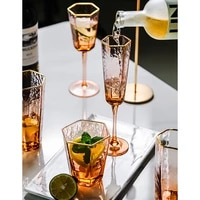 nordic hexagonal hammer stripe gold rimmed crystal wine glass champagne cup goblets whiskey party drinkware
