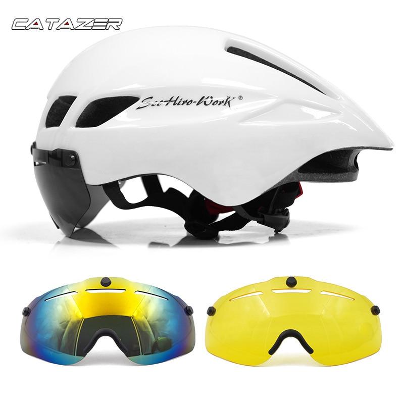 Casco de bicicleta caliente con gafas 4 colores ultraligero MTB Casco de...