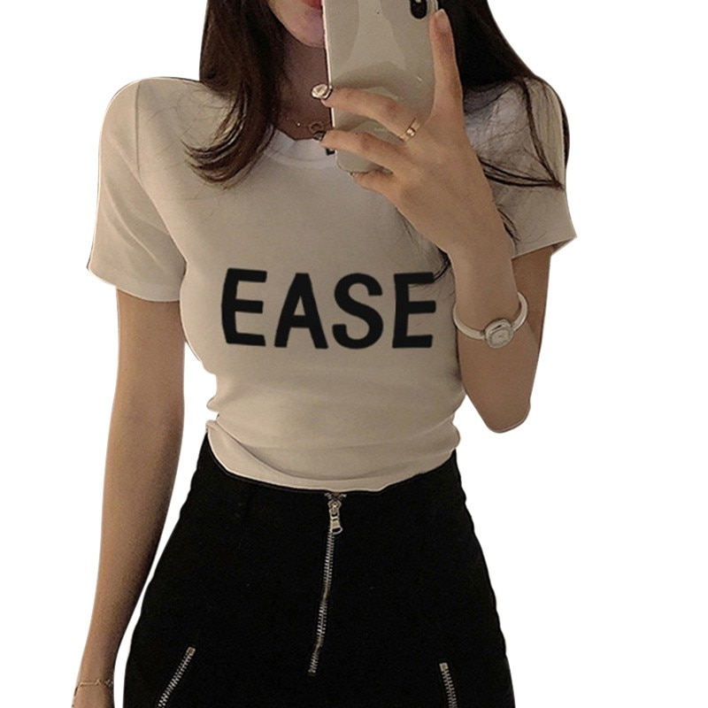 Women Slim Letter Print T-Shirt With Text Summer Round Neck Short Sleeve T Shirts Tops