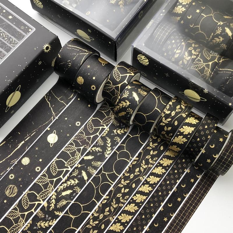 10 pcs/set Black starry sky Leaves gold Washi Tape set Diy Decoration Scrapbooking Planner Masking Tape Label Sticker Stationery