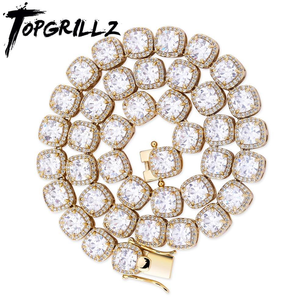 TOPGRILLZ-سلسلة تنس كبيرة من الزركونيا ، عقد 10 مللي متر ، مربع ، زركون ، زركون ، زركون ، جليدي ، لامع ، هيب هوب ، مجوهرات عصرية للرجال