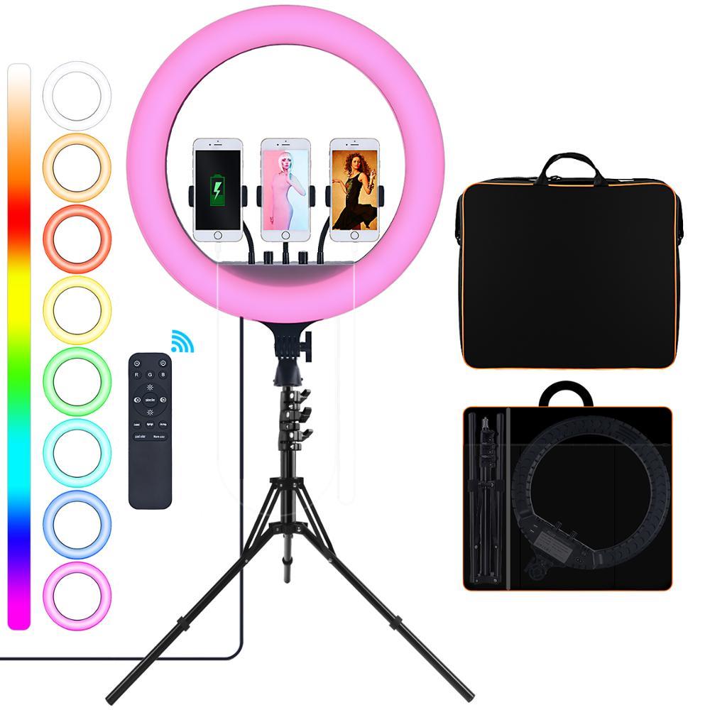 مصباح حلقة Led من فوسيتو 18 RGB مصباح التصوير الفوتوغرافي مزود بمنفذ USB للتحكم عن بعد حامل ثلاثي القوائم للبث المباشر ماكياج التصوير