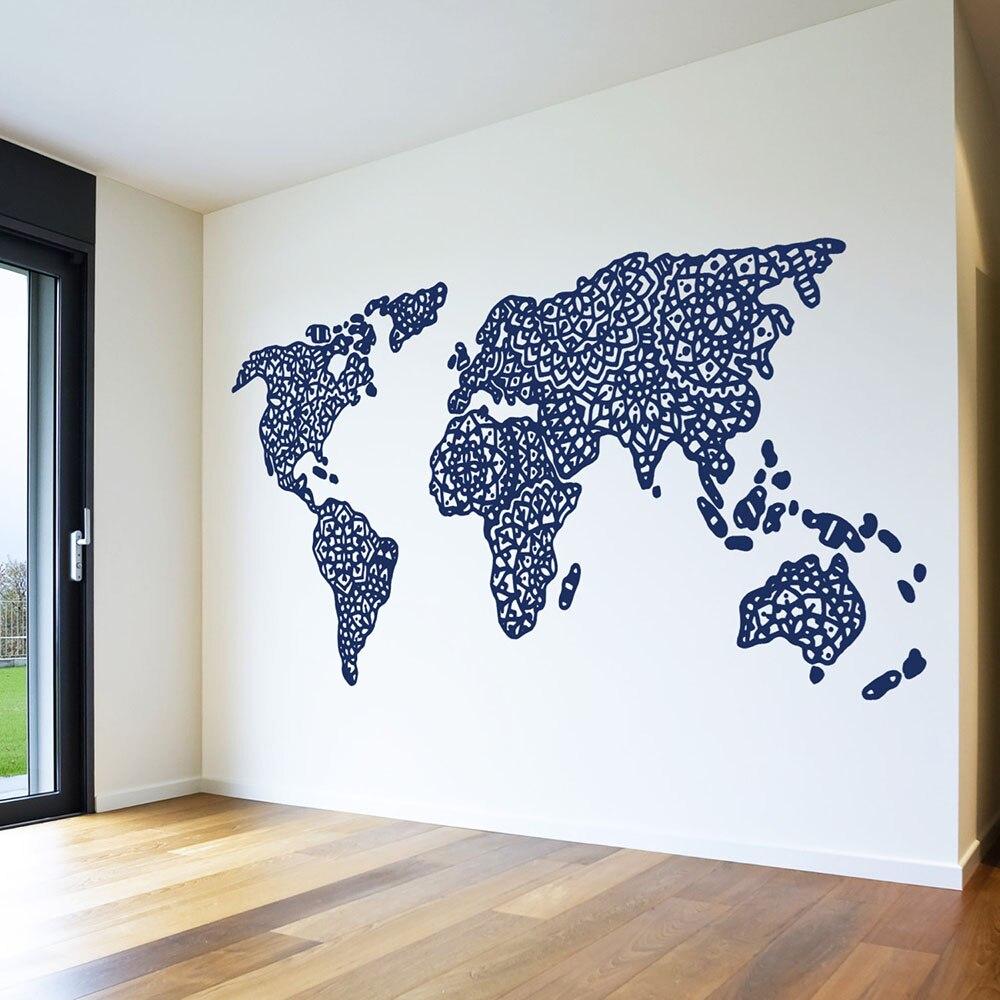 Mandala mapa del mundo pegatinas de mapa contorno Bohemia mapa pared adhesivo de vinilo extraíble hogar Decoración de sala de estar diseño papel tapiz Z903