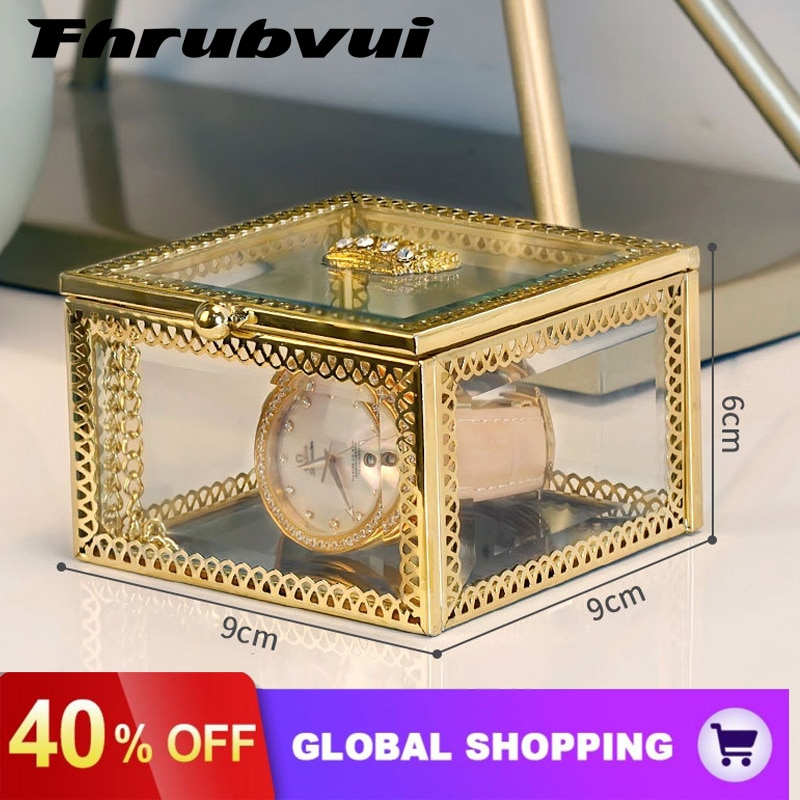 Luxury Clear Jewelry Storage Box Countertop Makeup Organizer Rangement See Through Vintage Gold Glass Keepsake Gift Box double layer luxury storage watch box slots best gift for women makeup rose wood collect box vintage case family storage box