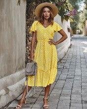 ER YA ER YUN Sommer Floral Print Midi Kleid Frauen Kurzarm V-ausschnitt Blume Kleider Sommer Rüschen Hülse Kleid Vestidos 2020