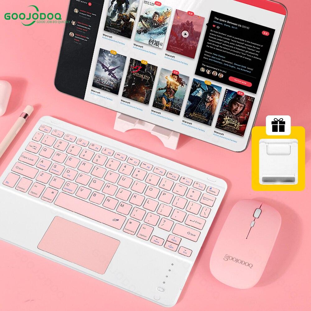 GOOJODOQ بلوتوث لوحة المفاتيح لباد 10.2 الهواء 4 2 3 ماوس شاومي سامسونج اللوحي أجهزة الكمبيوتر المحمولة Teclado inalambrico لوحة المفاتيح اللاسلكية