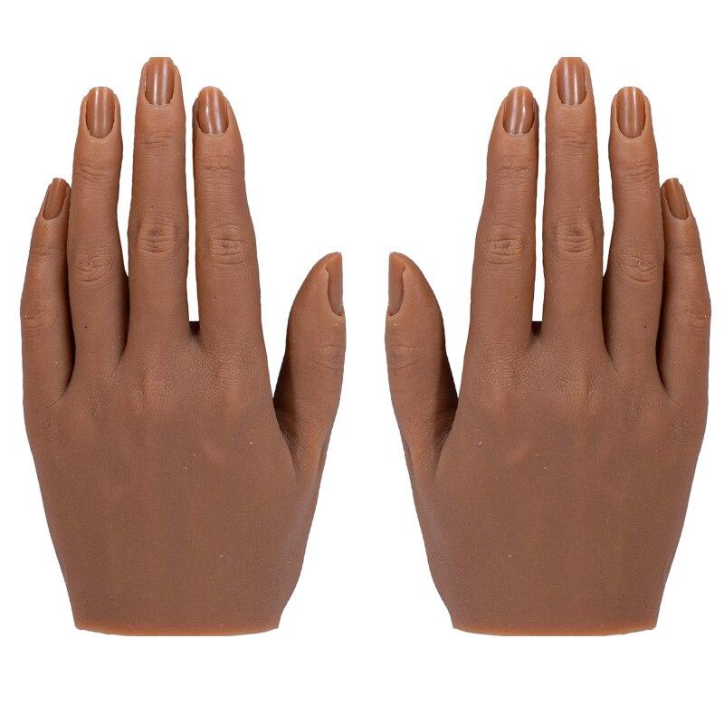نموذج يد سيليكون لممارسة فن الأظافر ، مانيكان ثلاثي الأبعاد للبالغين مع شاشة ضبط إصبع مرنة ، يتضمن حامل