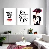 Peintures sur toile avec maquillage feminin  mode nordique  affiches et imprimes  tableau dart mural pour salon  decoration de la maison