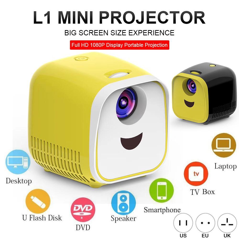 Nuevo L1 Mini proyector 1080P Full HD LED proyector de cine en casa Video proyector HDMI con Cable para USB TF TV juego de portátil