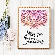 Affiche de thème Mandala de la Station Henna   Affiche murale de toile dart, décor de fête, images murales de décoration pour la salle de maison