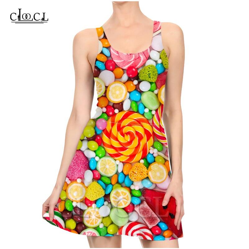 Новое модное Яркое летнее платье CLOOCL ярких цветов для девушек и девушек с 3D рисунком сексуальное тонкое