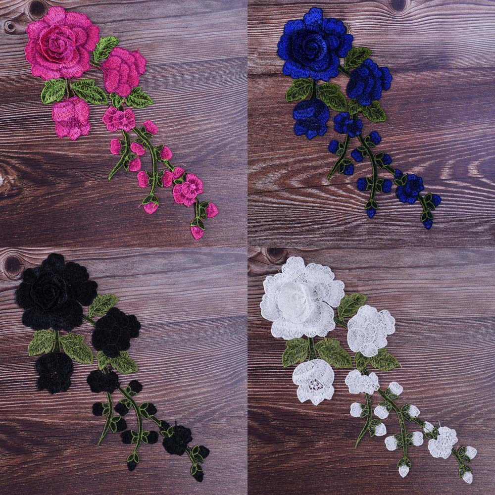 1pc Rose Embroidered Sewing On Patch Flower Patch Stickers For Clothes Badge Sewing Fabric Applique Supplies 12Colors