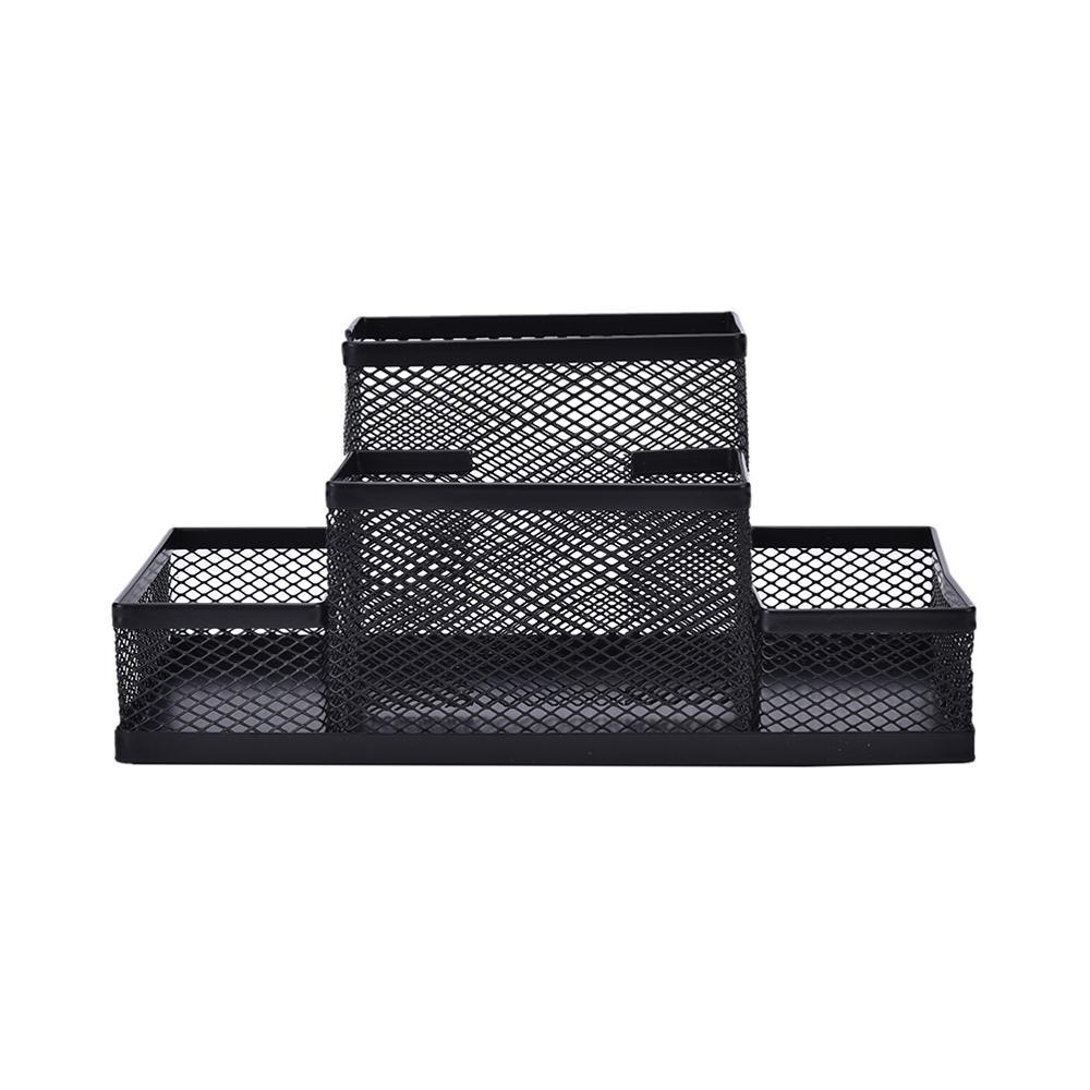 Черный Металлический сетчатый ящик, ручка, чехол, настольная канцелярия, органайзер для хранения, для дома и офиса, экономит место, 1 шт.