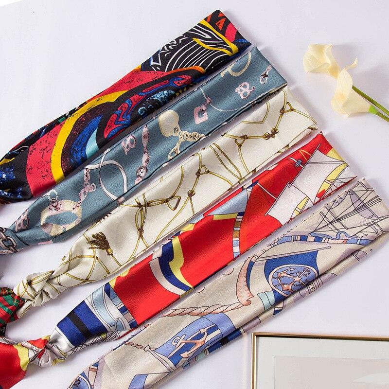 Фото - 150 см шейный шарф шейный платок ленты Пряничный кролик двухслойный женский модный галстук для офиса длинный тонкий Шелковый шарф платок женский troll цвет темно синий молочный tsa0345gr размер 150 см х 150 см