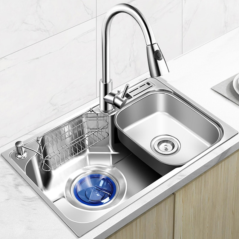 sink or swim pубашка Kitchen Sink Stainless Steel Above Counter or Udermount Sinks Single Bowl Thickened Sink Vegetable Washing Set