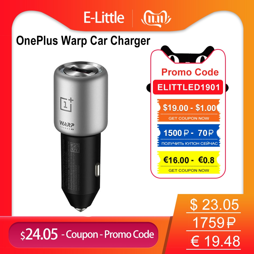 Original for Oneplus 7T Type C Dash Charge Cable Car charger 5V 4/6A 30W EU Fast Adapter For One Plus 7T 1+6T 5T OnePlus 3T/ 1+5