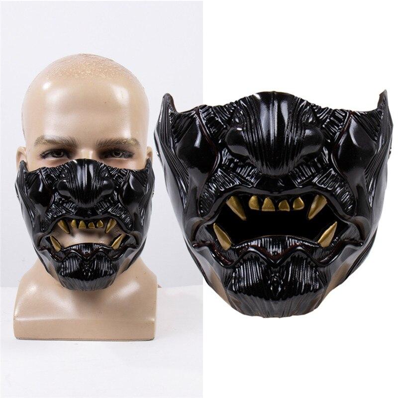 Venda quente Santo da Ilha de Tsushima Sakai Cosplay Máscara Meia Face Máscara Samurai Halloween Masquerade Máscaras Do Partido do Dia Das Bruxas Adereços