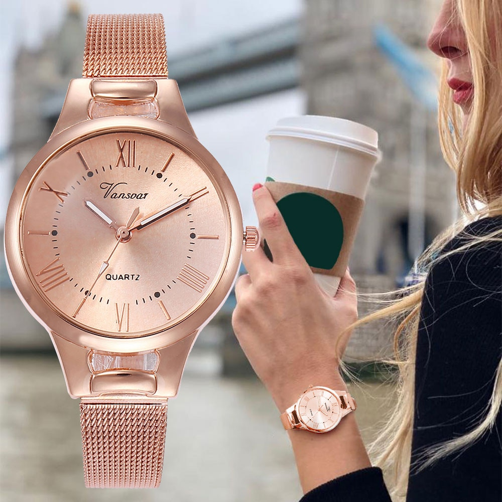 De las mujeres de la moda reloj Damas Rosa oro reloj de acero inoxidable para mujer, relojes de mujer reloj regalo reloj Masculino