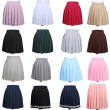 Японская плиссированная юбка Cos Macarons с высокой талией, Женская юбка Kawaii, Женская Корейская одежда Harajuku для женщин