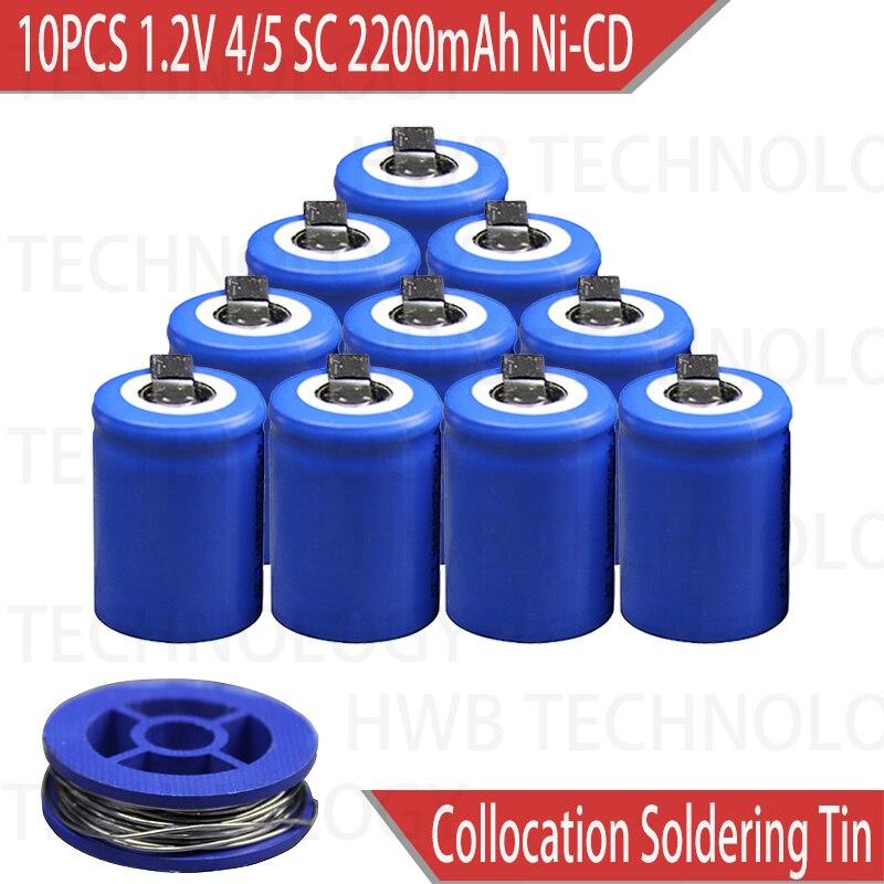 10 Pçs/lote Ni-Cd 1.2V 2200mAh 4/5 SubC Sub 4/5SC ferramentas De Poder da bateria Bateria Recarregável com Guia-Azul Frete grátis