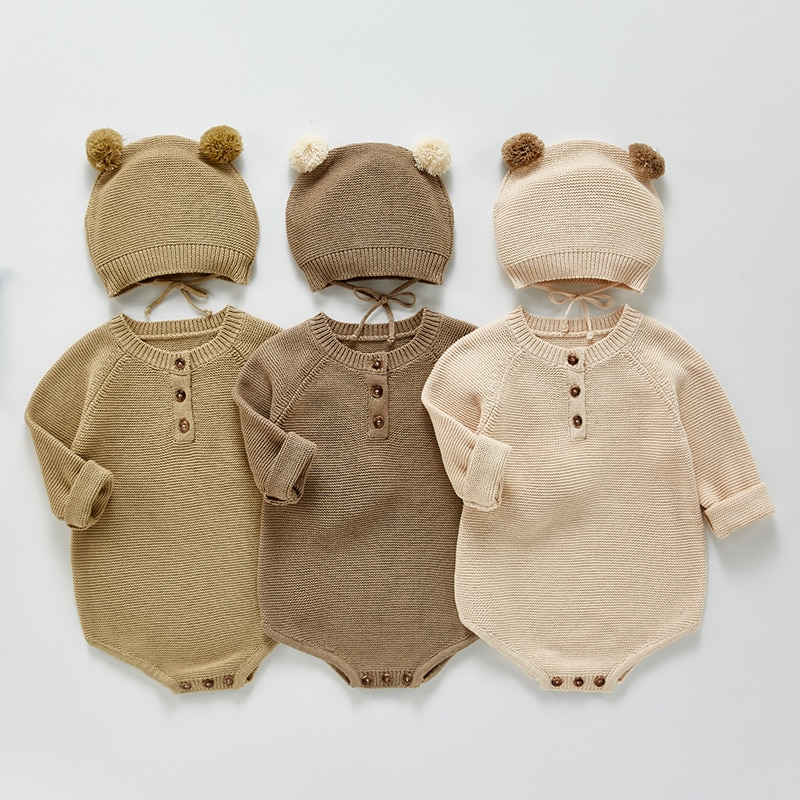 Newborn Baby Knitted Rompers with Hat Autumn Spring Infant Jumpsuit Knitwear Outfits Newborn Baby Sweater Baby Boy Girl Clothes